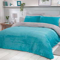 Cosy & Soft Ribbed Fleece Reversible Duvet Set Teal/Grey