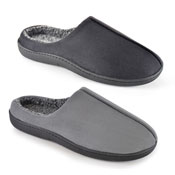 Mens Cleated Sole Mule Slippers Black/Grey