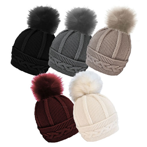 Ladies Cable Hat With Detachable Pom Pom Carton Price