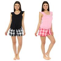 Ladies Ruffle Tie Top With Check Shorts Pyjamas