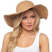 Ladies Natural Colour Wide Brim Summer Hat