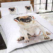Rock N Roll Pug Duvet Set Panel