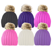 Children's Ribbed Hat with Faux Fur Pom Pom