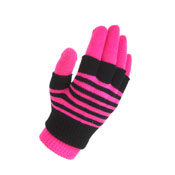 2 in 1 Neon Magic Gloves Stripe Pink Only