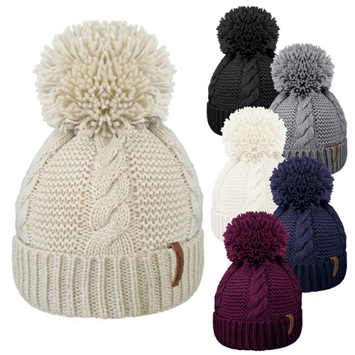 Adults Cable Knit Bobble Hat With Cosy Lining