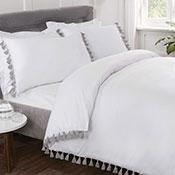 Tassel Luxury Duvet Set White