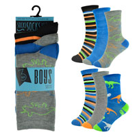 Boys 3 Pack Dinosaur Design Socks