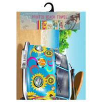 Microfibre Beach Towels Summer Bus Blue