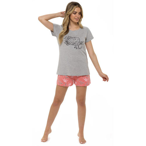 Ladies Jersey Sloth Print Pyjama Shorts Set
