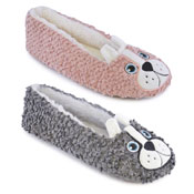 Ladies Soft Fleece Ballet Slippers Dog Grey/Pink