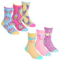 Girls 3 Pack Socks Fun Food Assorted
