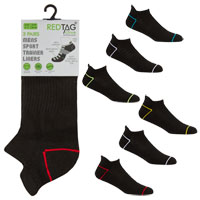 Mens 3 Pack Trainer Socks Neon Stripe