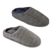Mens Grey Checked Soft Mule Slippers