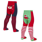 Baby Christmas Patch Design Tights With Grippers