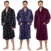 Mens Check Print Supersoft Gown Robe