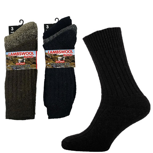 Mens Boot Length Lambs Wool Blend Socks