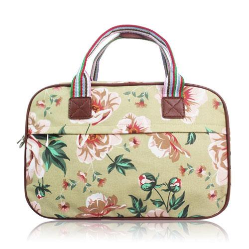 Floral Print Overnight Bag Beige
