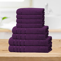Bear & Panda 8 Piece Cotton Towel Bale Purple