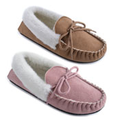 Ladies Mock Suede Fur Trim Moccasin Slipper Shoes