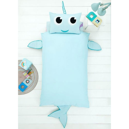 Creative Novelty Shaped Duvet Reversible - Narwhal