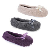 Ladies Coral Fleece Ballet Slipper With Glitter Bow