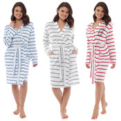 Ladies Soft Stripe Print Dressing Gown