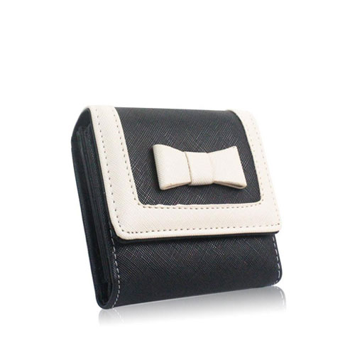 Ladies Small Purse With Bow Black