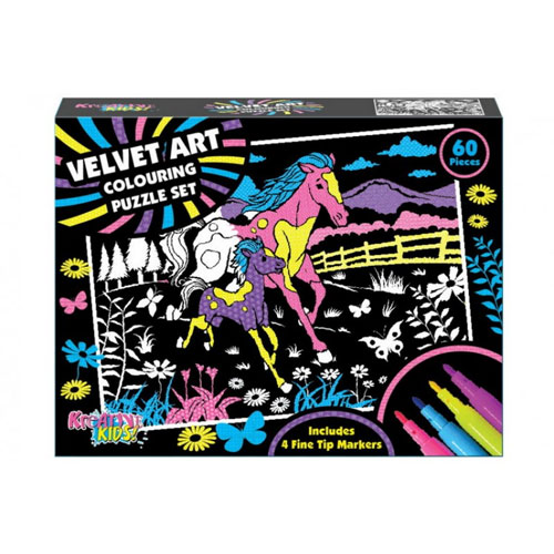 Velvet Art Colouring Jigsaw Puzzle Set