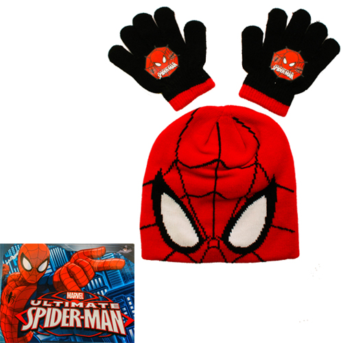 Childrens Ultimate Spider-Man Beanie Hat and Gloves