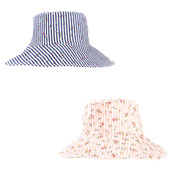 Ladies Stripe & Ditsy Flower Wide Brim Sun Hat