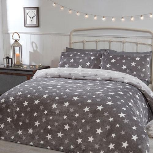 Comfy Fleece All Stars Grey Design Duvet Set