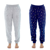 Ladies Foil Printed Star Fleece Cuff Lounge Pants