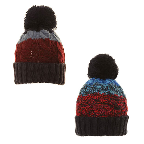 Boys Striped Knitted Bobble Hat With Pom Pom
