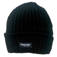 Adult Black Ribbed Hat With Lining