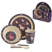 Unicorn Design Reusable Bamboo Dinner Set