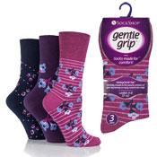 Ladies Gentle Grip Poppy Floral Pink Purple Socks