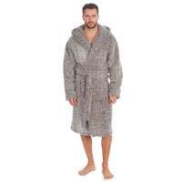 Mens Frosted Sherpa Hooded Gown Grey