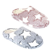 Ladies Star Design Soft Fleece Mule Slippers