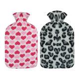 Heart And Leopard Fleece Hot Water Bottle