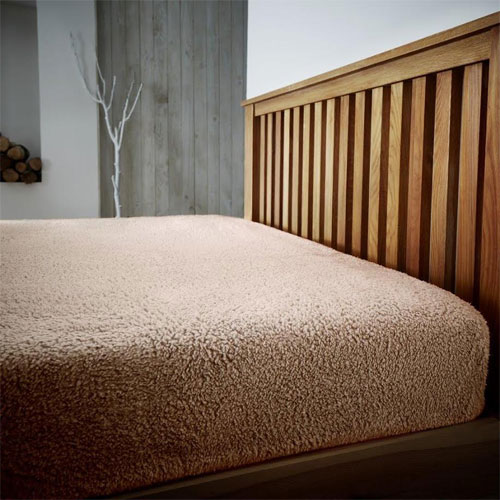 Super Soft Teddy Feel Fitted Bed Sheet Mink