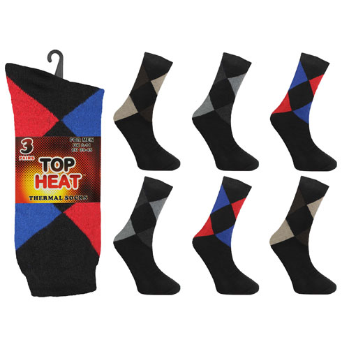 Mens Top Heat Thermal Socks Argyle
