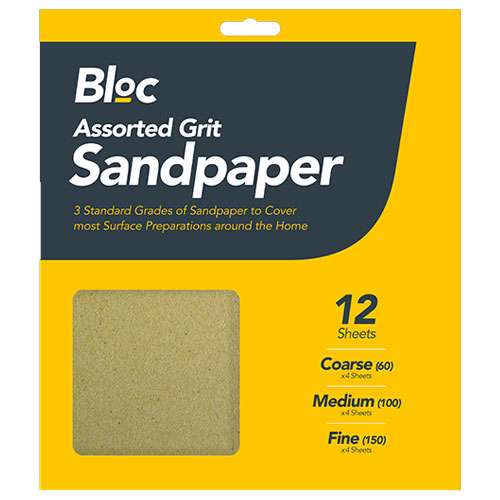 Assorted Grit Sandpaper 12 Sheets