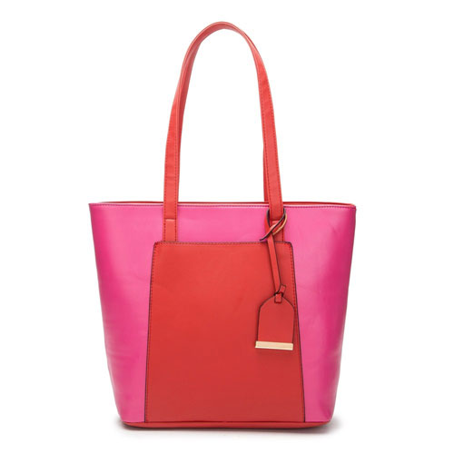 Luggage Tag Two Tone Tote Bag Pink Red