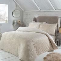 Sparkle Ribbed Fleece Duvet Set Natural