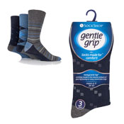 Mens Gentle Grip Assorted Patterns Socks