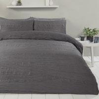 Super Soft Crinkle Duvet Set Charcoal