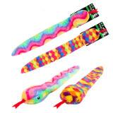 Plush Rainbow Snake Dog Toy With Squeaker