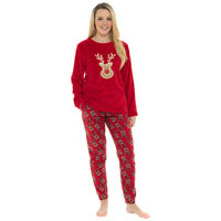 Ladies Oh Deer Fleece Pyjama Set