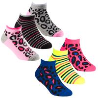 Girls 3 Pack Trainer Liner Socks Animal Design