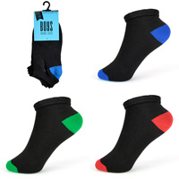 Boys Coloured Heel And Toe Black Trainer Socks